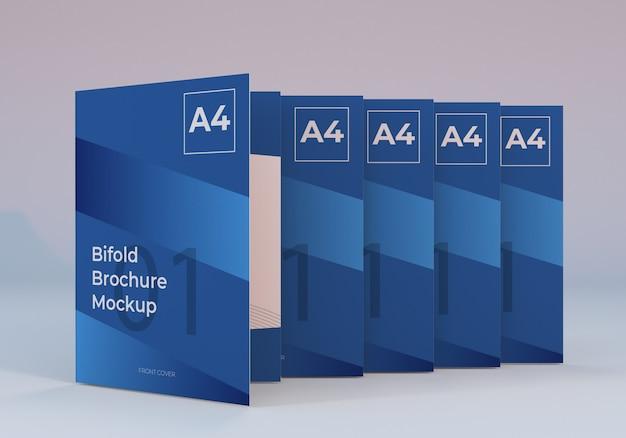 Mockup di brochure bifold a4 in piedi