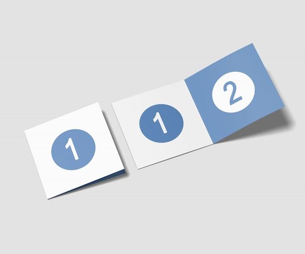 Mockup di brochure bifold quadrati