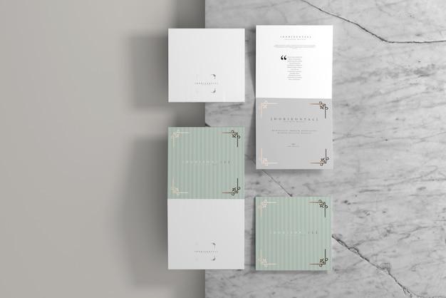 Mockup di brochure quadrata orizzontale pieghevole