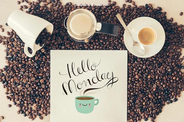 Mockup di caffè con tazze e caffettiera