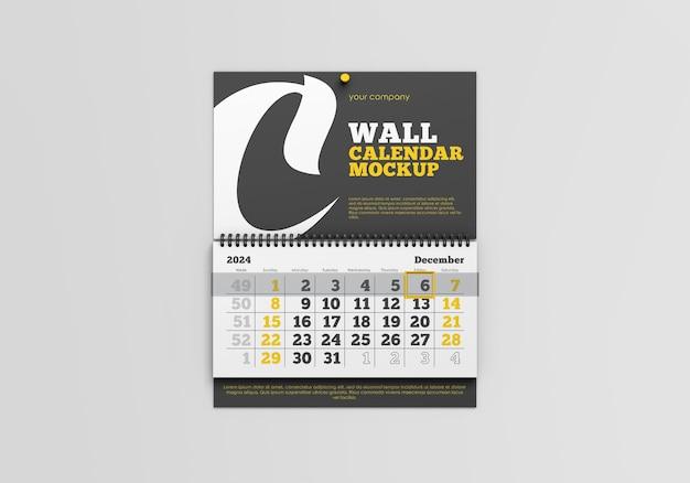 Mockup di calendario da parete