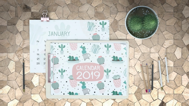 Mockup di calendario decorativo piatto lay