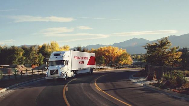 Mockup di camion rimorchio