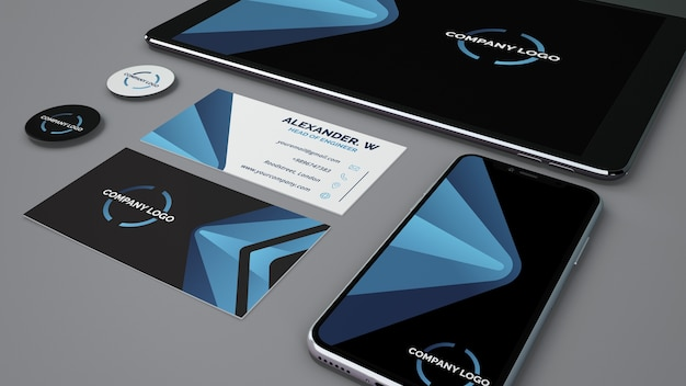 Mockup di cancelleria con smartphone e tablet