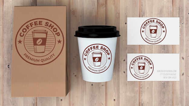 Mockup di cancelleria per caffetteria