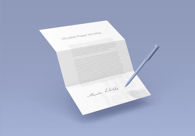 Mockup di carta da lettere degli stati uniti