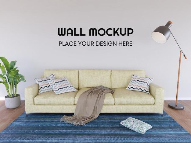 Mockup di carta da parati del soggiorno interno