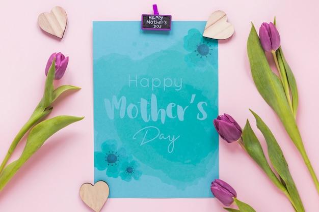 Mockup di carta di giorno di madri piatto lay