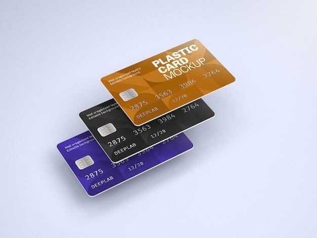 Mockup di carta di plastica con colore di sfondo modificabile