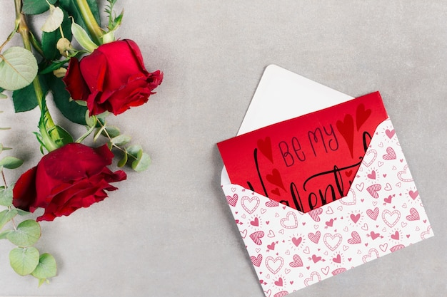 Mockup di carta di san valentino vista dall'alto