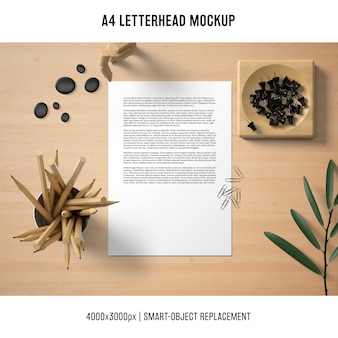 Mockup di carta intestata still life a4