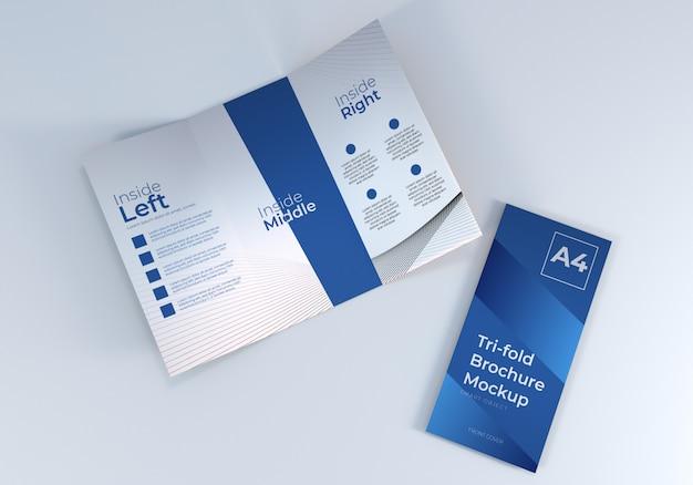 Mockup di carta per brochure a tre ante a4 realistico semplice