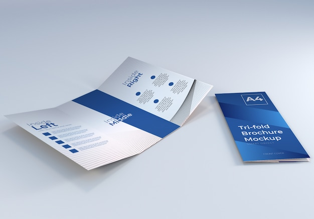 Mockup di carta per brochure a tre ante a4 semplice