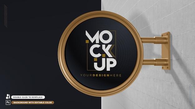 Mockup di cartello 3d con colori modificabili