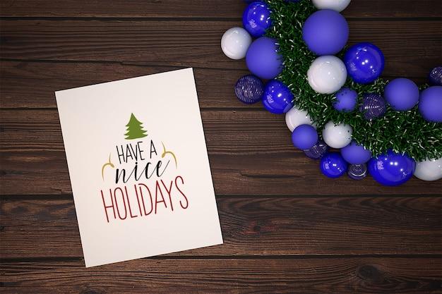 Mockup di cartolina di natale con ornamento