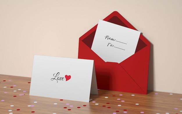 Mockup di cartolina di san valentino