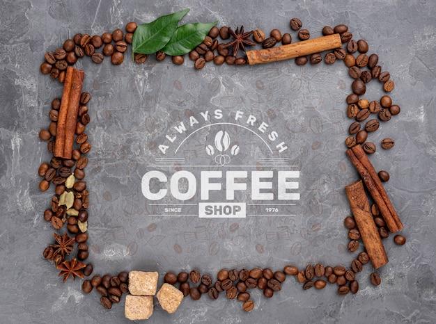 Mockup di chicchi di caffè vista dall'alto