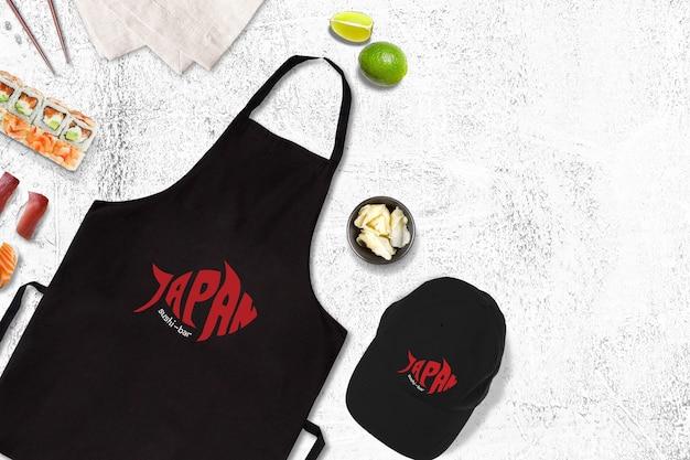 Mockup di cibo con design sushi