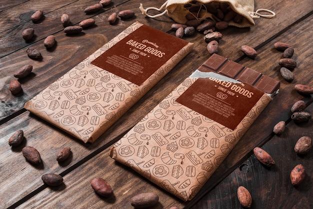 Mockup di cioccolato decorativo