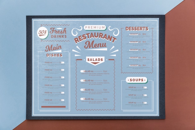 Mockup di concetto di menu del ristorante
