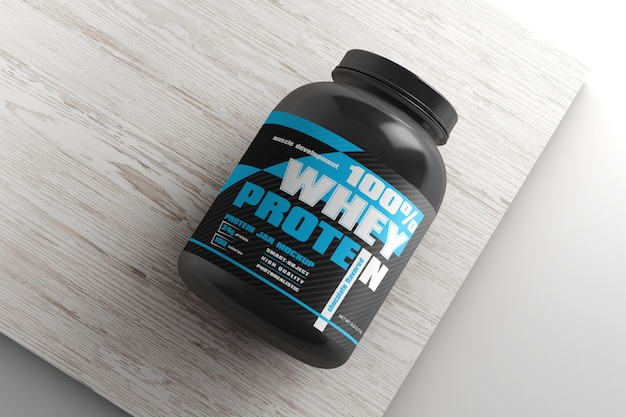 Mockup di contenitore di proteine lucido