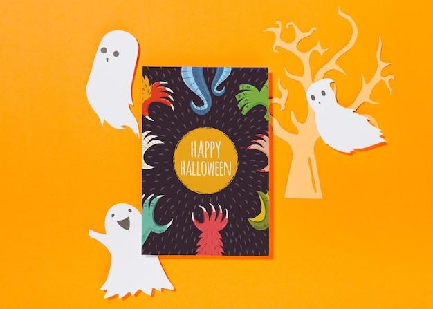 Mockup di copertina di halloween con fantasmi di carta