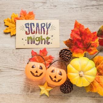 Mockup di copertina di halloween con foglie