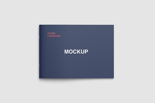 Mockup di copertina orizzontale formato a4 vista dall'alto