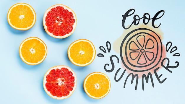 Mockup di copyspace piatto laici con frutti estivi
