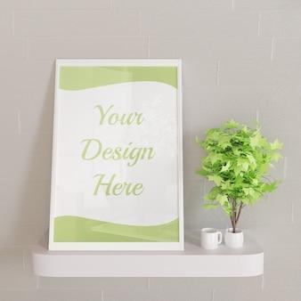 Mockup di cornice bianca orizzontale sulla scrivania a parete con piante decorative
