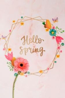 Mockup di cornice floreale per la primavera