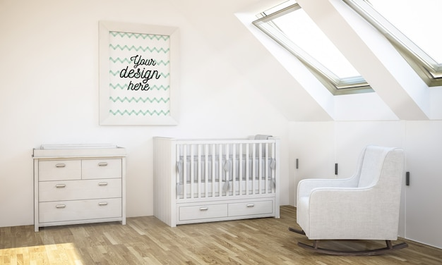 Mockup di cornice nella stanza del bambino