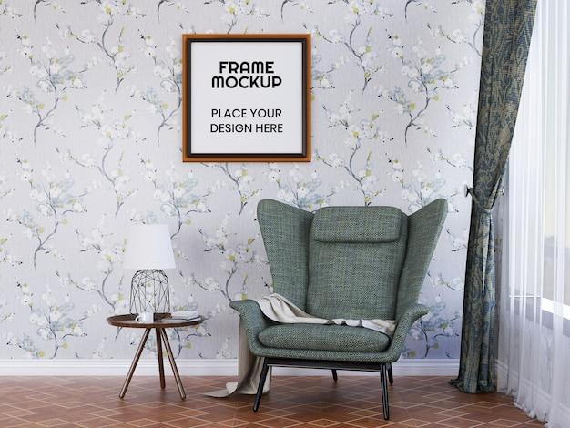 Mockup di cornice per foto di soggiorno interno