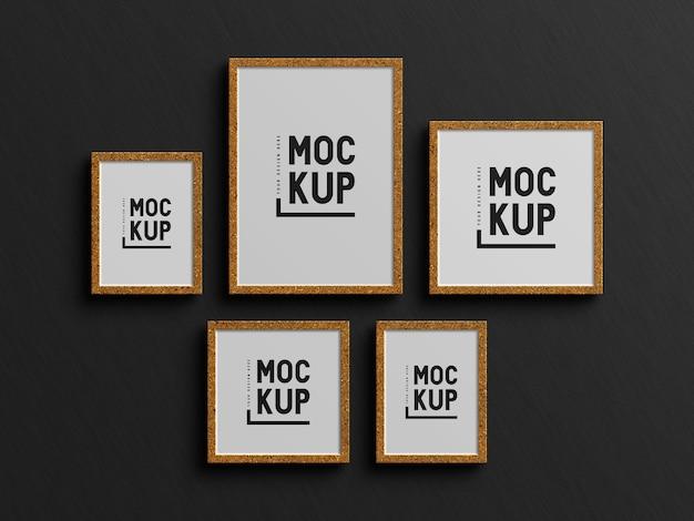 Mockup di cornice per foto dorata di dimensioni diverse minimalista