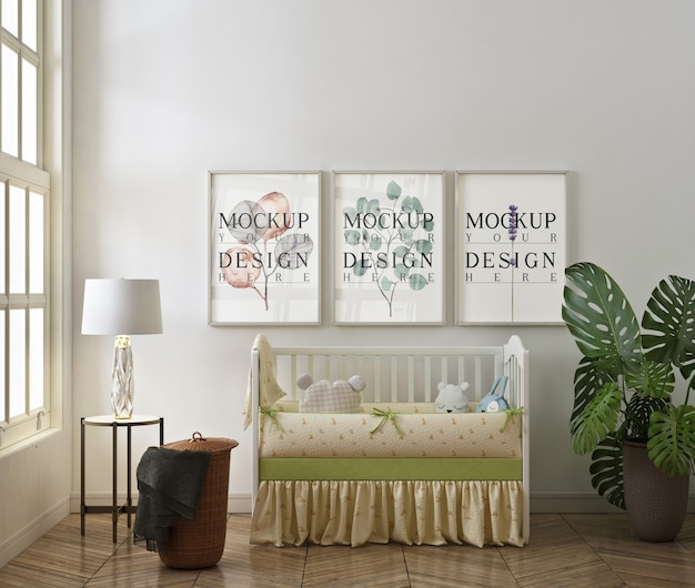 Mockup di cornice per foto nella moderna camera da letto del bambino