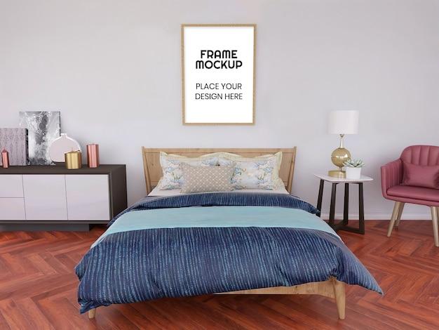 Mockup di cornice vuota in camera da letto