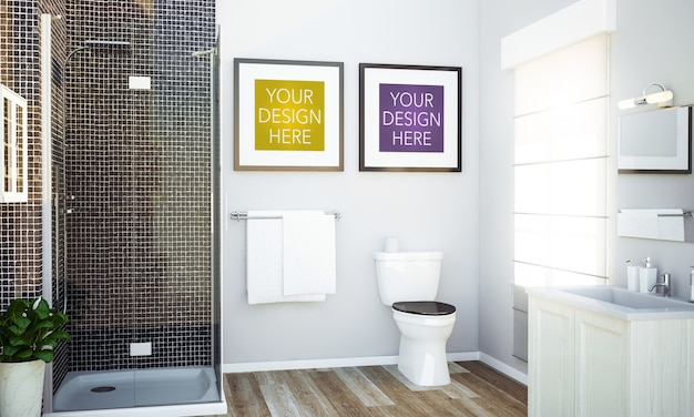 Mockup di cornici sul muro del bagno