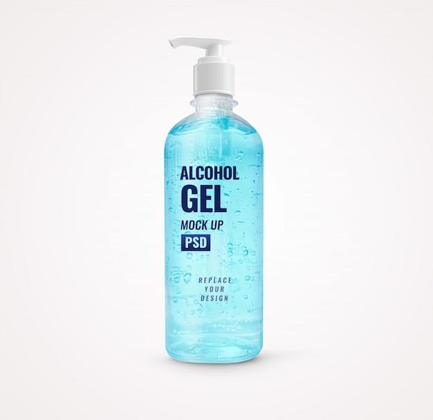 Mockup di disinfettante per le mani blu pompa bottiglia di gel di alcool