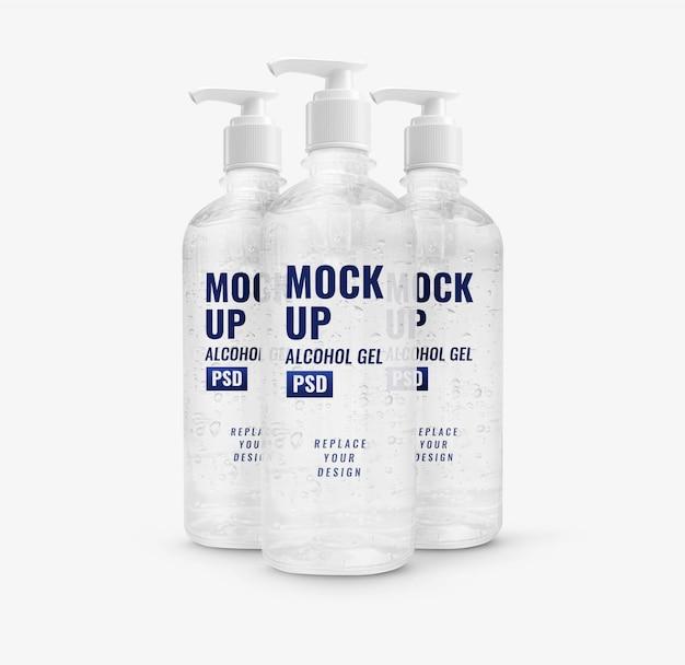 Mockup di disinfettante per le mani della pompa di bottiglia di gel di alcool