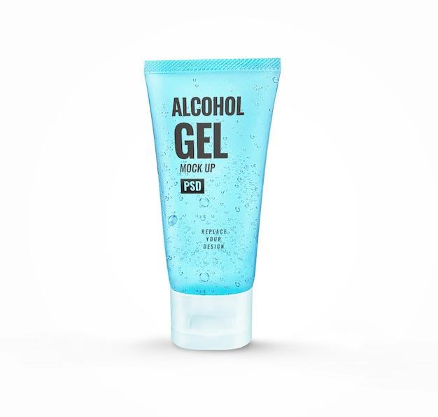 ิ mockup di disinfettante per tubi in gel blu alcolico