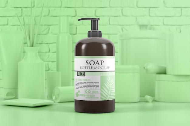 Mockup di dispenser di bottiglie di sapone