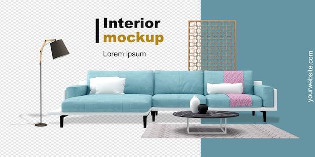 Mockup di divano, lampada e scrivania in rendering 3d