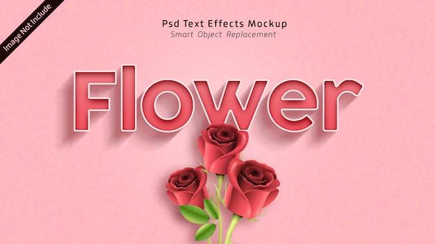 Mockup di effetti di testo 3d di fiori