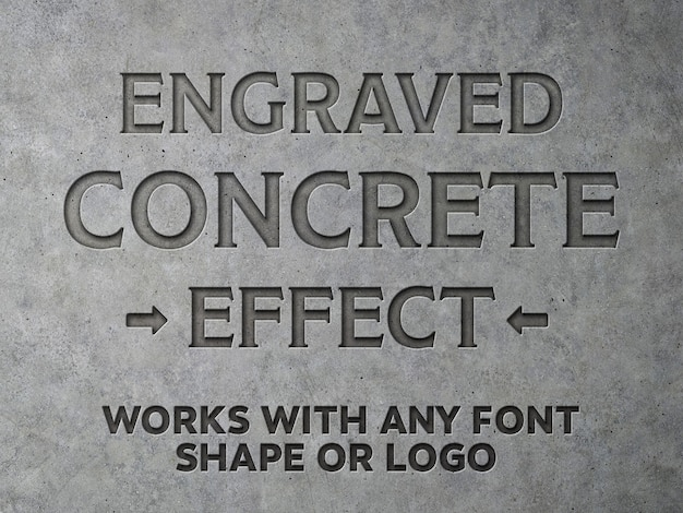 Mockup di effetti di testo concreti incisi