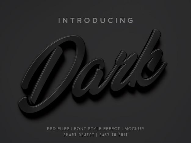 Mockup di effetto stile carattere nero scuro 3d