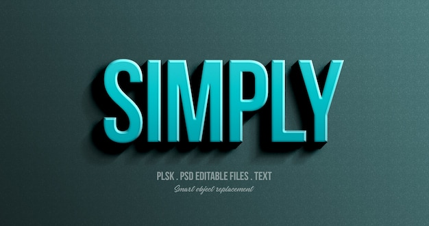 Mockup di effetto testo in stile semplicemente 3d