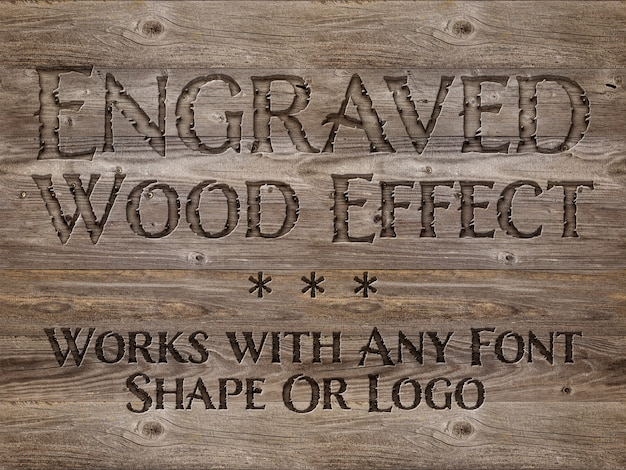 Mockup di effetto testo legno inciso