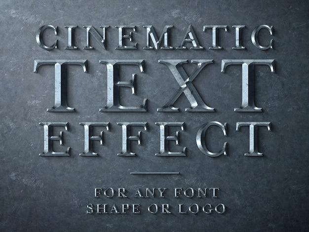 Mockup di effetto testo scintillato in metallo cinematico