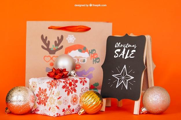 Mockup di elementi di vendita con design christmtas