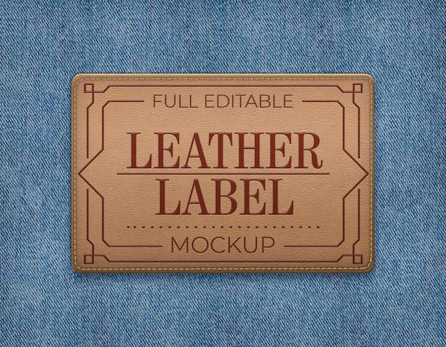 Mockup di etichetta in pelle